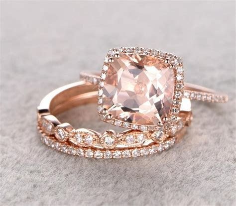 Sale 2 carat Morganite and Diamond Trio Wedding Bridal