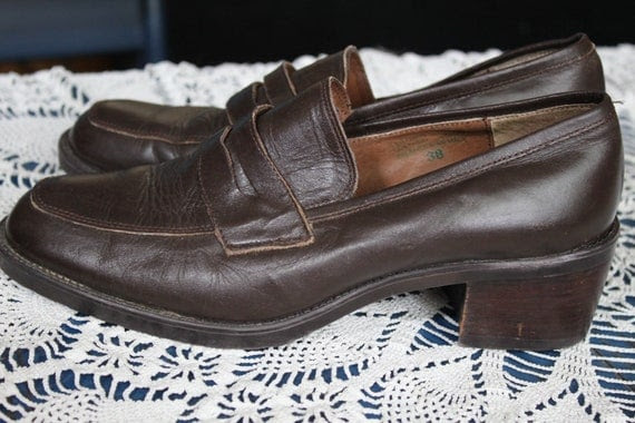 brown penny loafers high heel womens 8 by newwavepool on Etsy