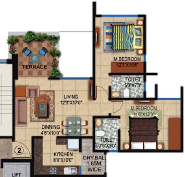 Amit Colori Undri 2 BHK Flat Odd Floors 721 sq.ft. Carpet + Terrace