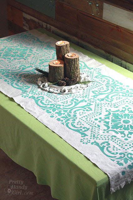 DIY Stenciled Drop Cloth Table Runner