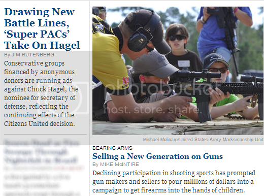 Screenshot of top of NYT home page, featuring one article on conservative Super PACs anonymously opposing Chuck Hagel and another on marketing guns to kids