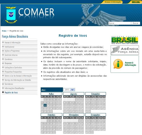 COMAER - portal de acesso - registro de voos