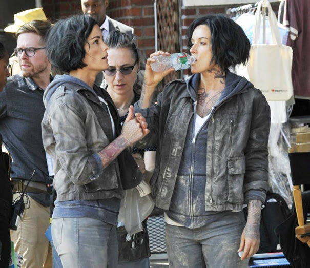 Jaimie Alexander And Her Stunt Double Ky Furneaux On The Set Of Blindspot
