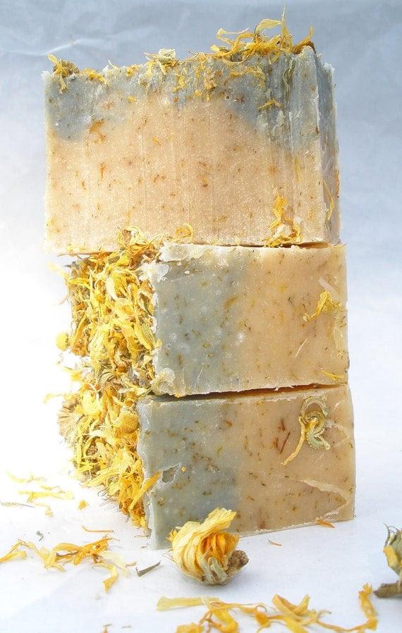 Chamomile Tea & Calendula Handmade Cold Process Soap with cocoa and shea butter (Vegan Friendly)