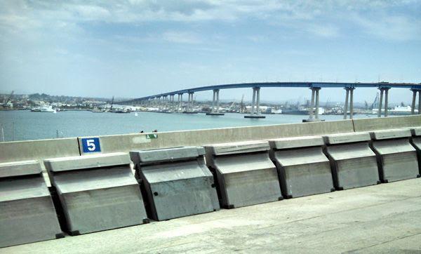 Cruising along the Coronado Bridge in San Diego, on July 25, 2014.