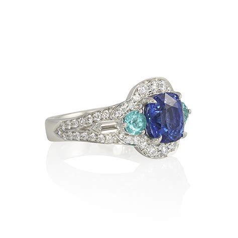 Blue Sapphire and Paraiba Tourmaline Engagement Ring for
