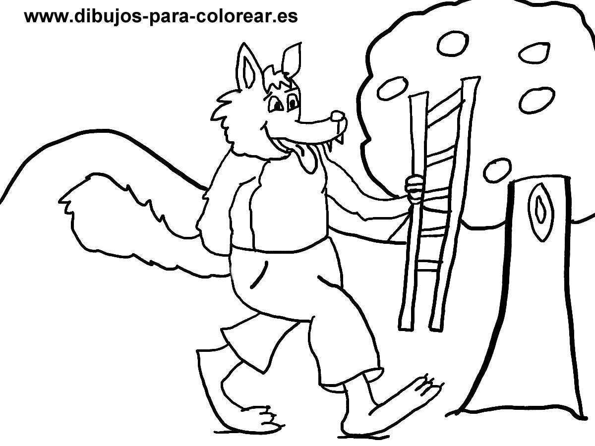 El Lobo Con La Escalera Y El Arbol Dibujos Para Colorear
