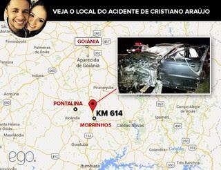 Veja o local do acidente de Cristiano Araújo (Foto: EGO)