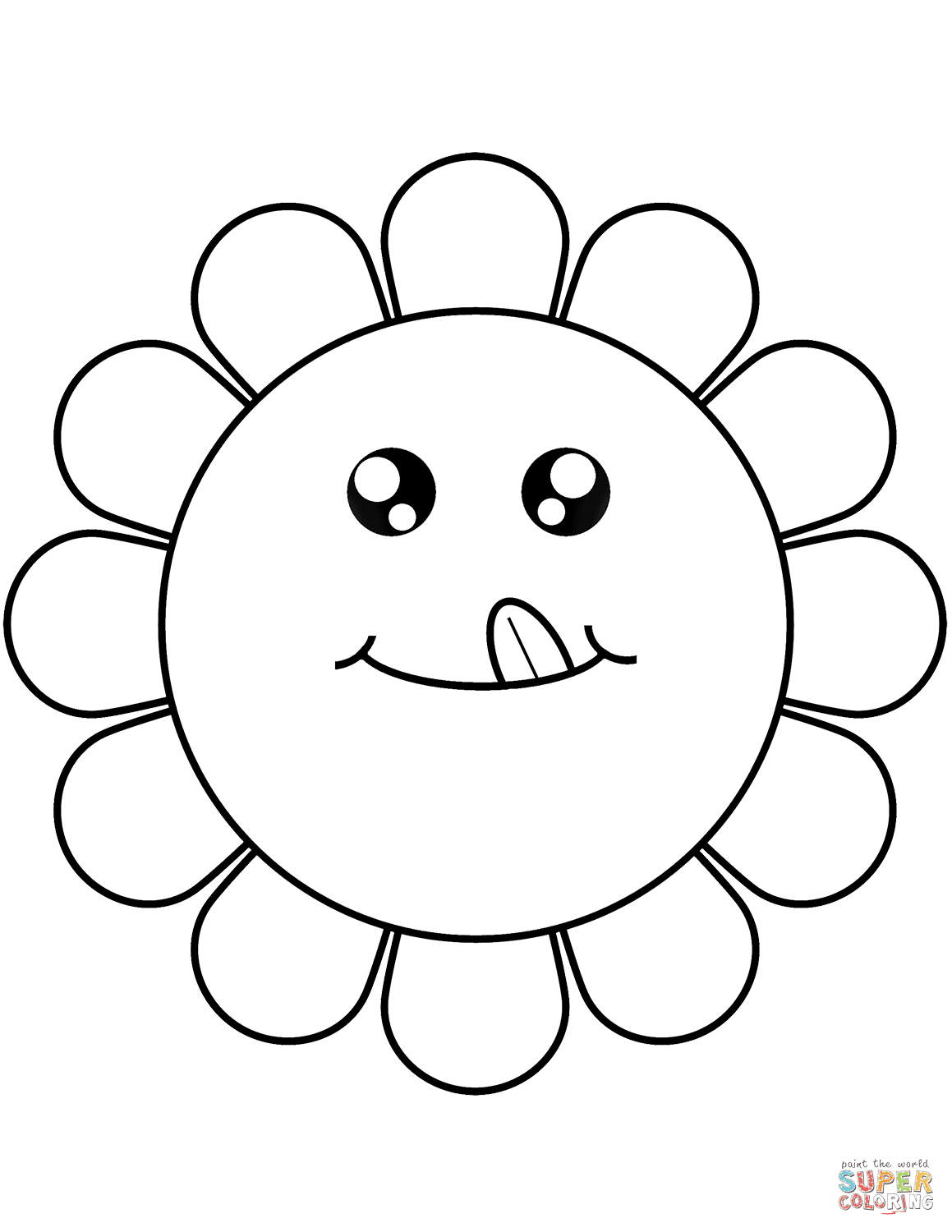 Cartoon Flower Face Coloring Page Free Printable Coloring Pages
