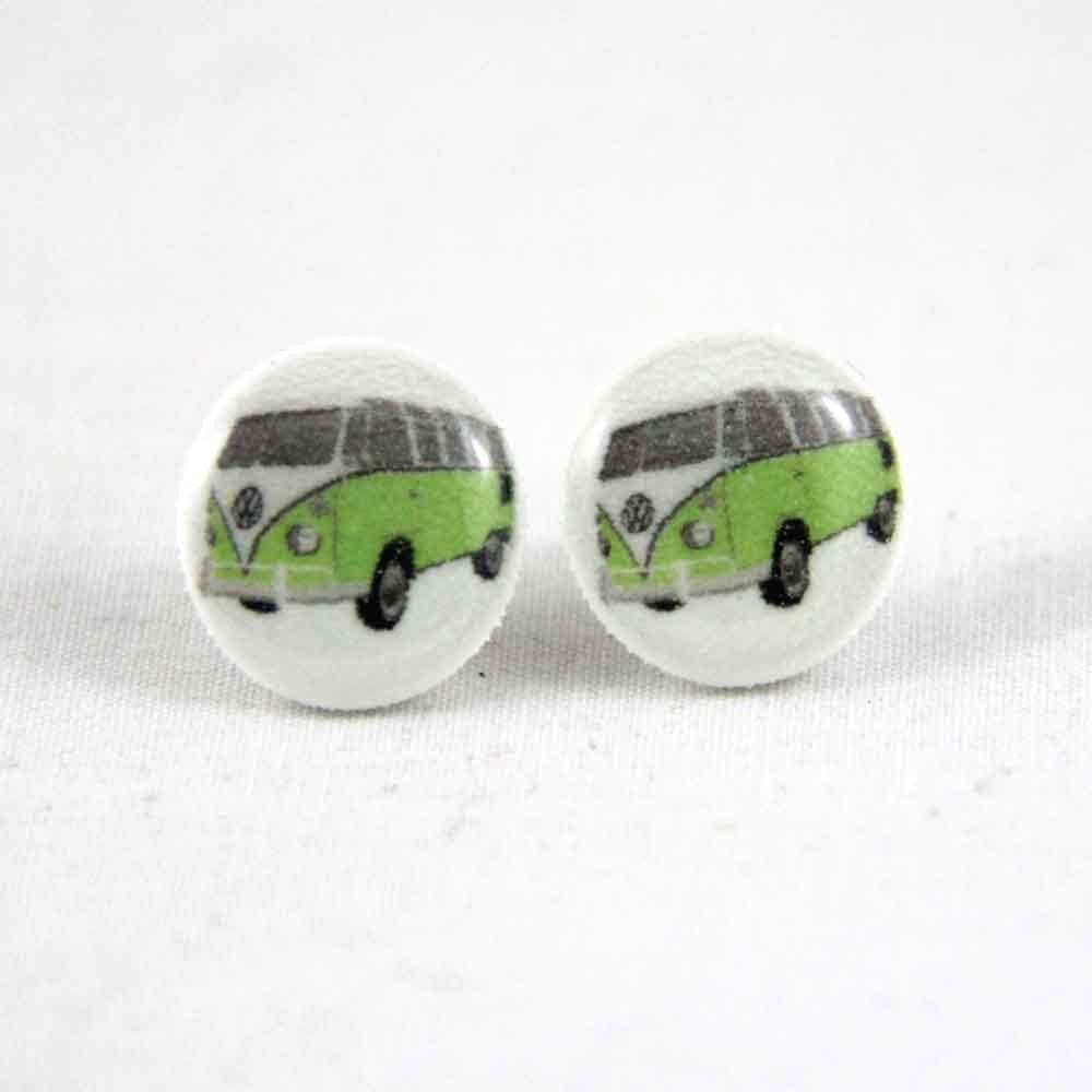 Green Kombi - Post Earrings - Hypoallergenic Surgical Steel