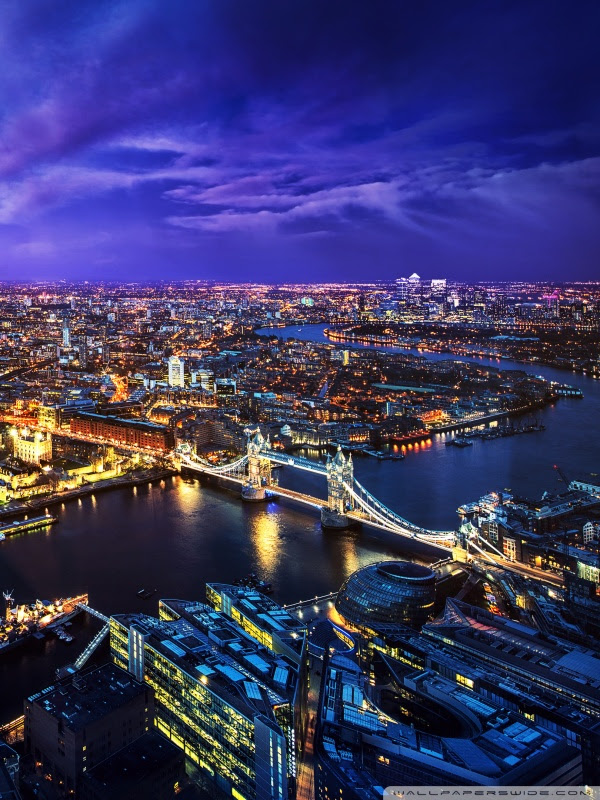 LONDON SKYLINE AT NIGHT 4K HD Desktop Wallpaper for • Wide  Ultra Widescreen Displays • Dual