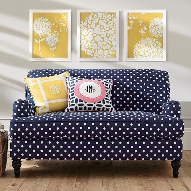 Totally crushin' on this chic polka dot sofa.
