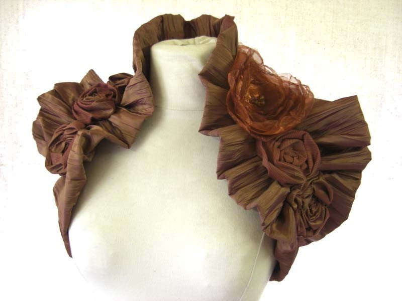Crinkle Rust Autumn Embellished Wrap