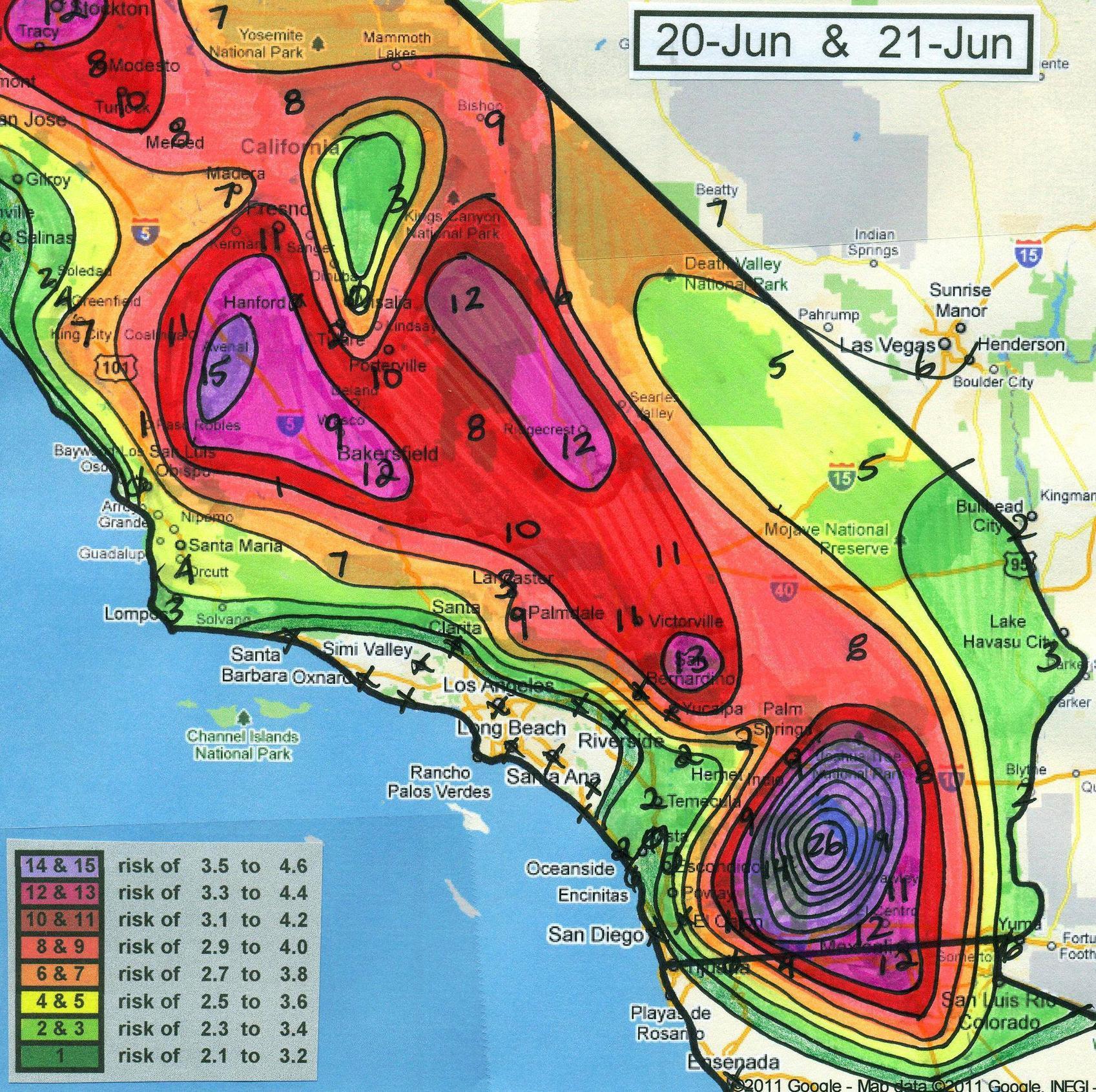 mapa de terremoto en california 2011
