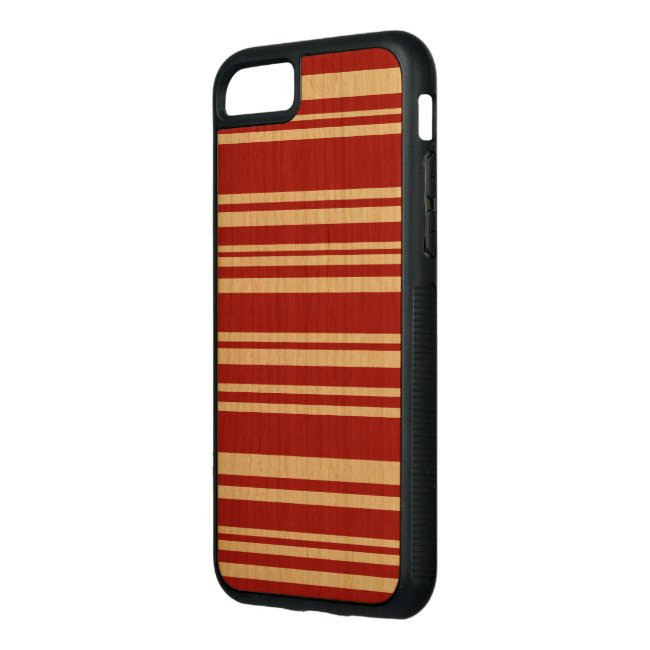 Mixed Red Stripes on Natural Wood