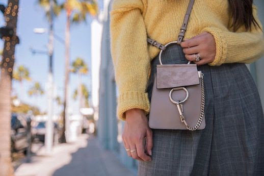 Le Fashion Blog Detail Shot Yellow Sweater Chloe Bag Plaid Pants Via Thrifts And Threads