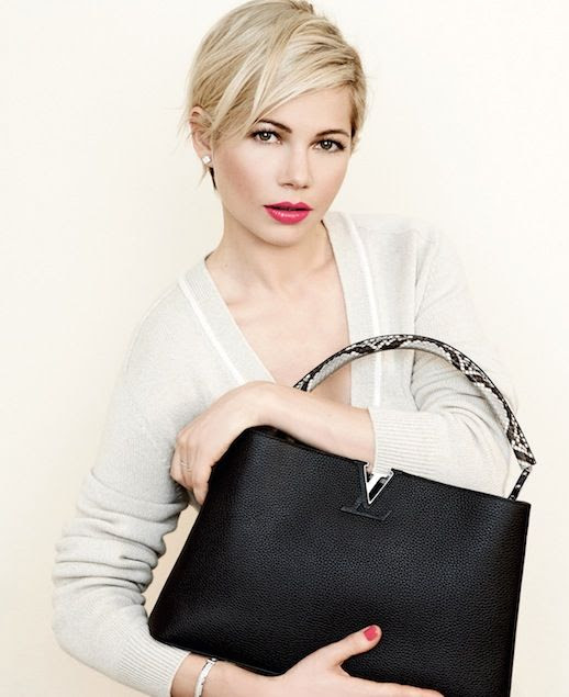Le Fashion Blog Michelle Williams Louis Vuitton SS 2014 Campaign Cardigan Sweater Black Python Snakeskin Top Handle Bag Bag Short Blonde Hair Haircut Beauty Pink Lipstick Photographer Peter Lindbergh 6 photo Le-Fashion-Blog-Michelle-Williams-Louis-Vuitton-SS-2014-Campaign-Sweater-Black-Bag-6.jpg