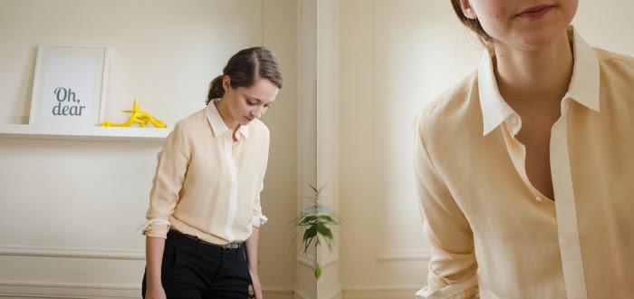 july blog post, silk shirt review, shopping for silk shirts, silk shirt investment pieces, everlane, j.crew factory two-button silk shirt, neon rose