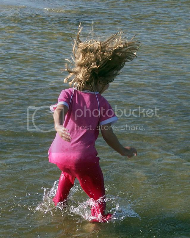 Attacking the water with reckless abandon.