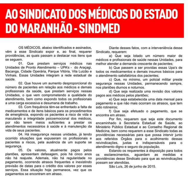 MÉDICOS DENUNCIAM SUCATEAMENTO DAS UPA'S DO MA.