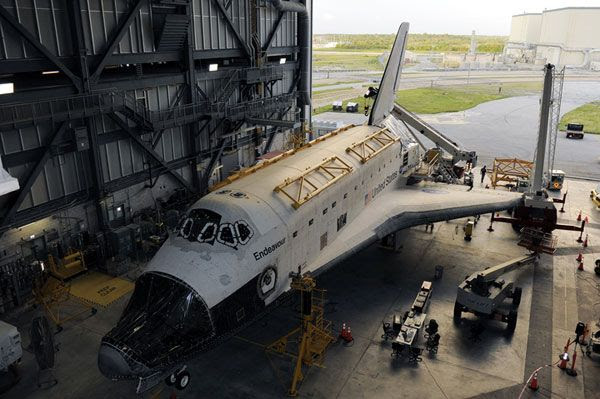 Space shuttle Endeavour undergoes decommissioning at the Kennedy Space Center in Florida.