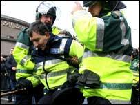 Guards were hurt in disgraceful scenes
