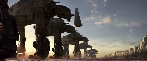 A group of First Order AT-M6 and AT-AT walkers prepare to wage battle on the planet Crait in STAR WARS: THE LAST JEDI.