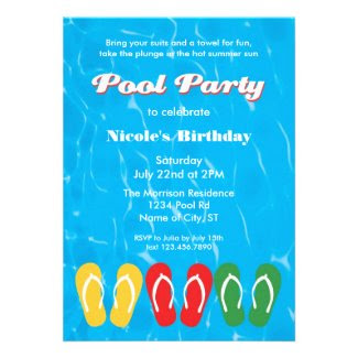 Flip Flops and Water Pool Party Invitation