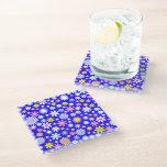 Blue Flower Power Glass Coaster