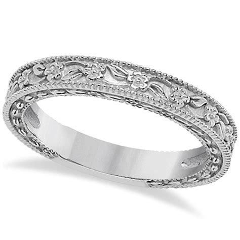Carved Floral Wedding Set Engagement Ring & Band 14K White