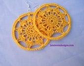 Bright Yellow flower bomb Crochet Earrings - jamiesondesigns