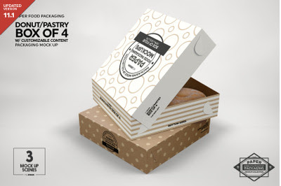 Download Box of Four Donut Pastry Box Mockup PSD Mockup Template