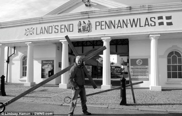Stamina: Mr Hamon in Lands End, Cornwall. The 60-year-old has needed remarkable mental and physical strength to make his trek