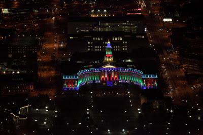 Denver City Building Xmas Lights Aerial