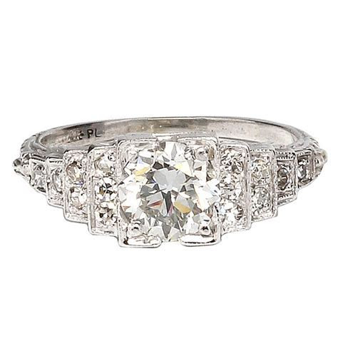 1920s Art Deco Platinum and Diamond Engagement Ring at 1stdibs