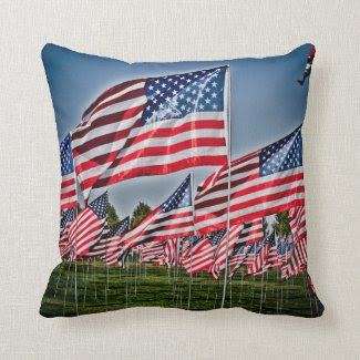 Reversible American Flag Throw Pillow