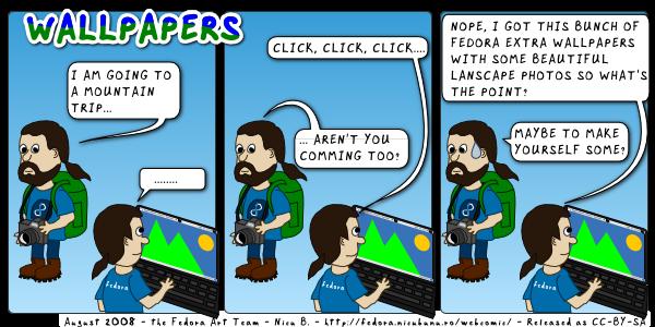 [fedora weekly webcomic: wallpapers]