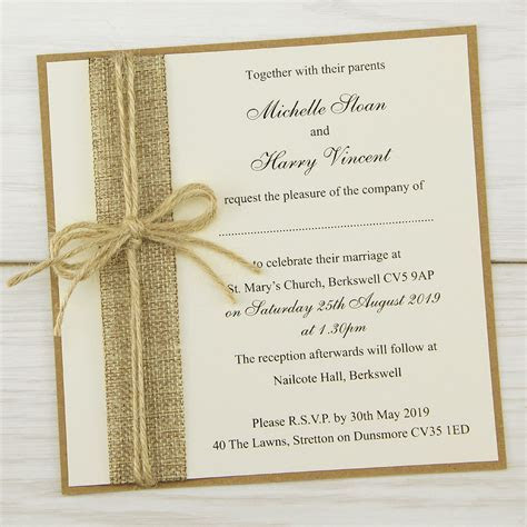 Rustic Burlap Layered Square   Pure Invitation Wedding Invites