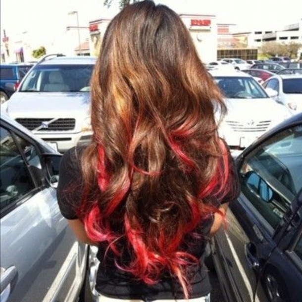 Dark Brown Hair With Bright Red Tips Hair Coloring