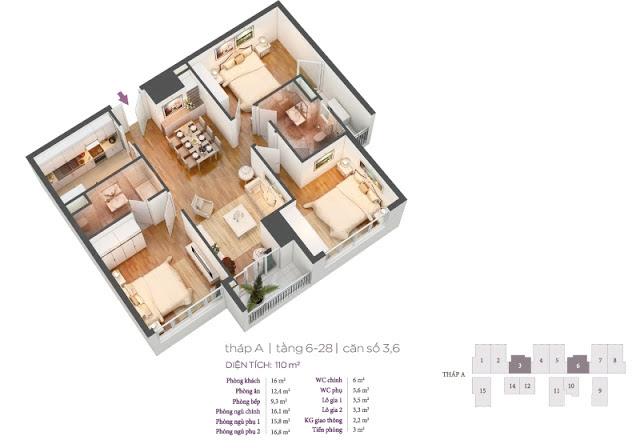Sơ đồ thiết kế căn hộ tháp A Hồ Gươm Plaza