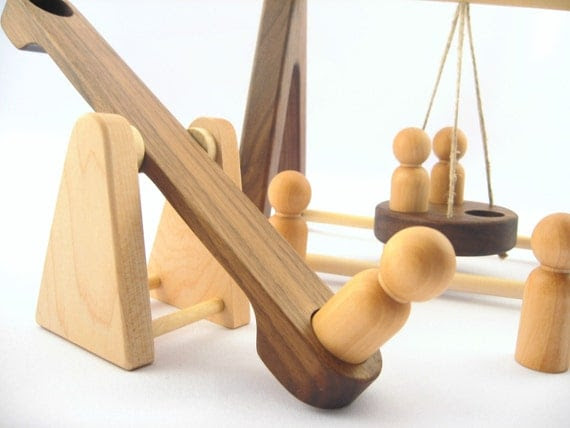 wooden PLAYGROUND pretend organic toys  - all natural safe non toxic, for montessori kids, original creative learning, imagination toys