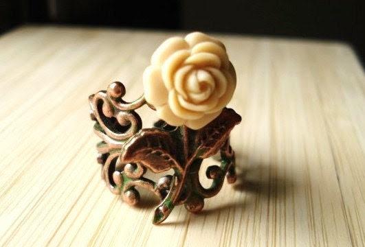 Rose Ring -- Ivory Flower on Patina Copper Filigree -- Secret Garden