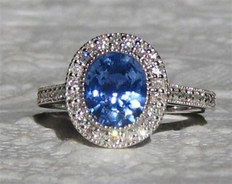 Blue Sapphire Engagement Ring, 1.73 Carat Cornflower Blue