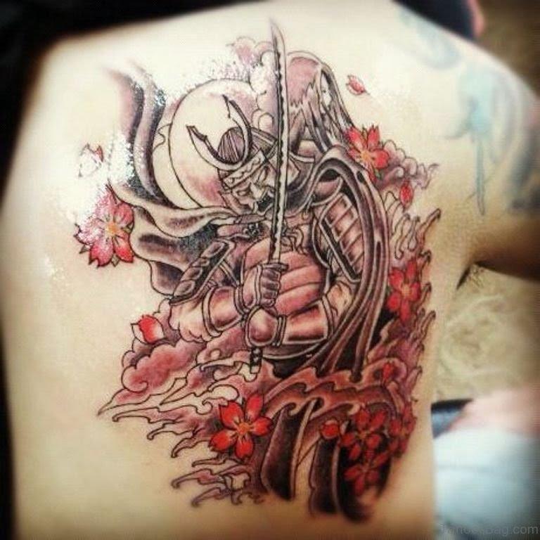 Stencil Japanese Warrior Tattoo Design