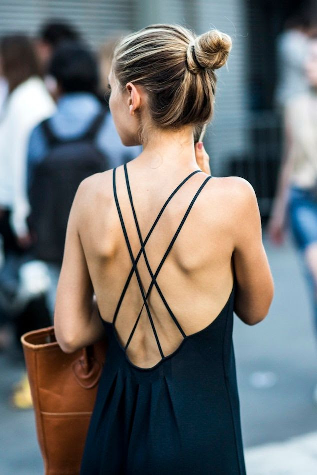 Le Fashion Blog Paris Street Style Cross Strap Back Dress Classic Bun Tan Leather Tote Via A Love Is Blind