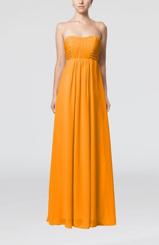 orange plain empire sleeveless zip up floor length wedding