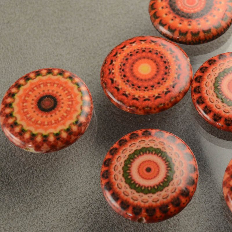 s35850 Decoupage Picture Beads - 30 mm Mandala Coin - Oranges (1)
