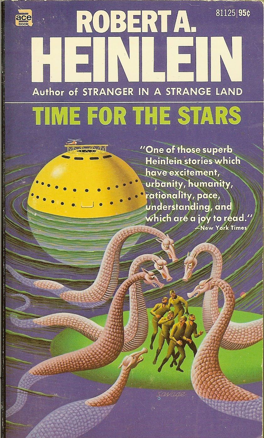 Steele Savage - Cover for Robert A. Heinlein - Time For The Stars, 1970