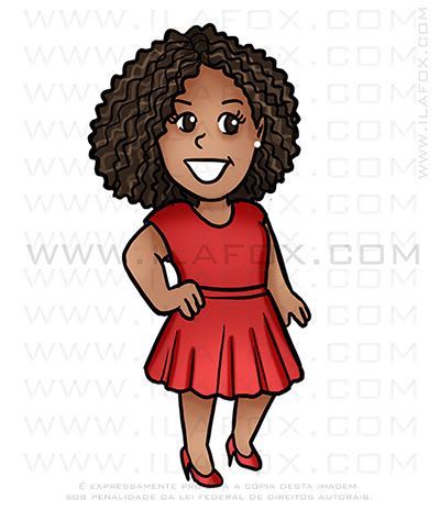 caricatura fofinha, caricatura mulher negra, caricatura cabelo afro, caricatura bonita, caricatura digital, by ila fox