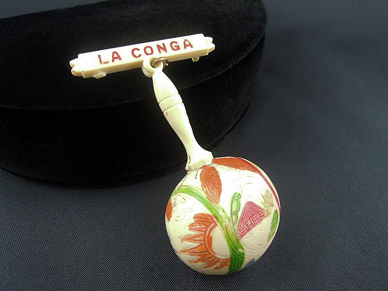 "Fun Vintage Celluloid ""LA CONGA"" Pin"